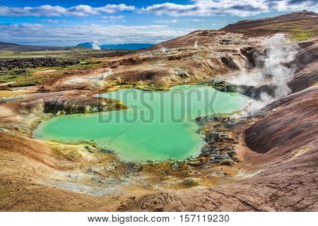 Turquoise Pond On A Volcanic Mountain In Iceland
