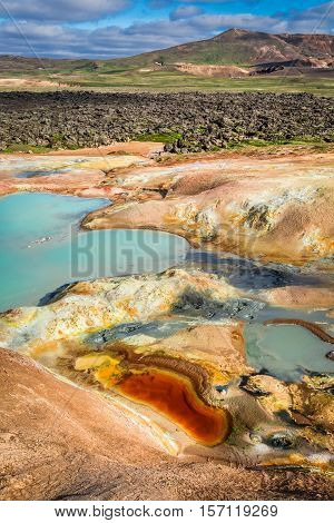 Volcanic Mountain Full Of Colorful Minerals In Iceland