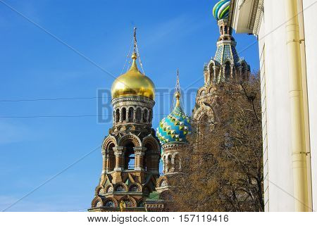 Details of the Our Saviour on Spilled Blood cathedral in Saint-Petersburg Russia