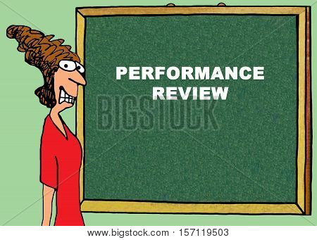 Color business illustration showing a businesswoman stressed about an upcoming performance review.