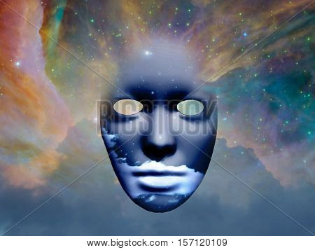 Mask with clouds in the space   3D Render  Some elements provided courtesy of NASA
