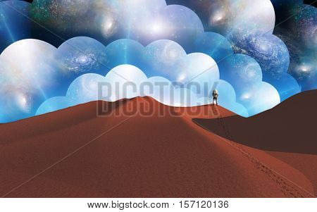 Man observing the multiverse   3D Render  Some elements provided courtesy of NASA