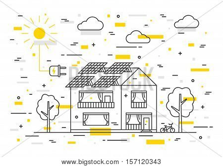 Sun electricity house vector concept with decorative colorful elements. Solar home system creative concept. Solar panel eco electricity illustration. Sunlight generator graphic design.