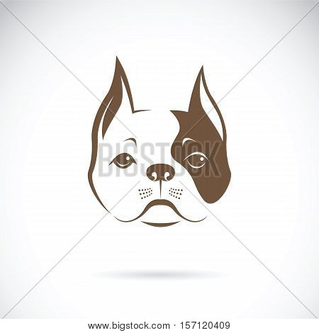 Vector of a dog face on a white background. Bulldog. Animal Logo.