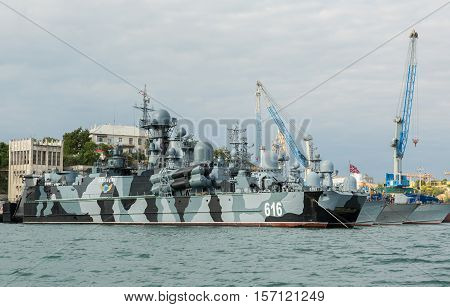 Sevastopol, Russia - June 09, 2016: Missile hovercraft Samum 616. Sevastopol naval base of the Black Sea Fleet. Crimea