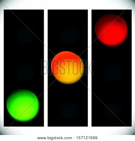 Traffic Light Icons Isolated On White. Green, Yellow, Red Light Icons. Traffic Lamps, Semaphores.