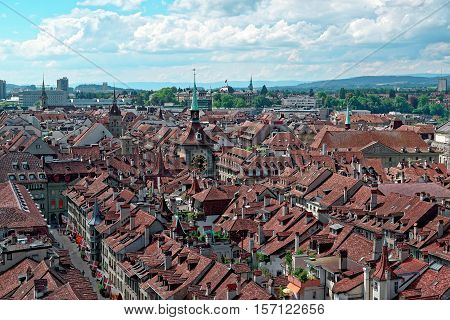 aerial view on the old town with historical buildings in Bern city in Switzerland