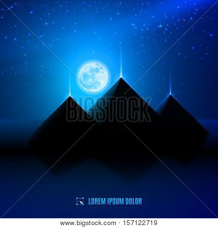 blue night egypt desert landscape background scene illustration with moon pyramids and stars