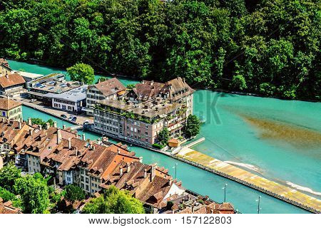 City of Berne with roofs aerial View and River Aare in Switzerland
