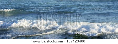 Waves in late afternoon on Newcastle beach, NSW, Australia