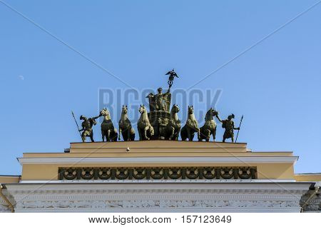SAINT PETERSBURG - JUNE 05 2014: detail - Chariot of Glory on the Triumphal Archof General Staff Palace Square. in St. Petersurg