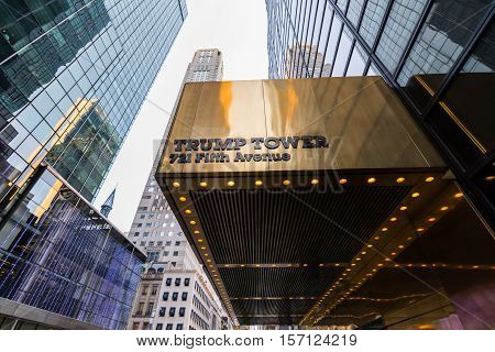 New York New York - USA April 28th 2016. Awning of the Trump Tower on 5th avenue New York New York