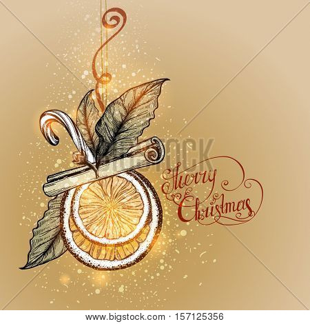 Christmas Toy made from natural materials. Holiday background. Slices of orange, cloves, bay leaf, cinnamon, candy.  Vector illustration.