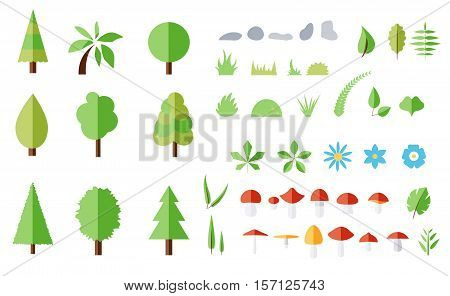 Vector set of forest elements. Trees flowers mushrooms leaves grass