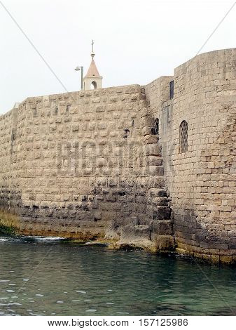 Ancient Ottoman Turkish Sea Wall in Akko (Acre) Israel
