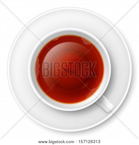 Cup of black tea with brown lump sugar