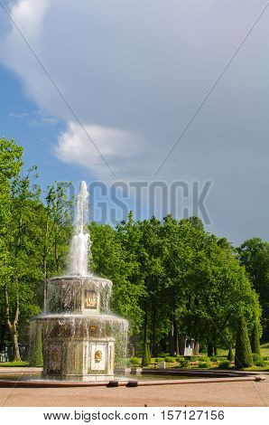 PETERHOF SAINT PETERSBURG RUSSIA - JUNE 06 2014: Fountain in in the Upper Park in Peterhof St Petersburg Russia on June 06 2014. Peterhof palace was included in the UNESCO World Heritage List