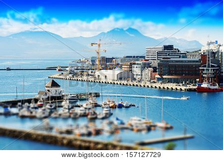 Micro toy Tromso city port background hd