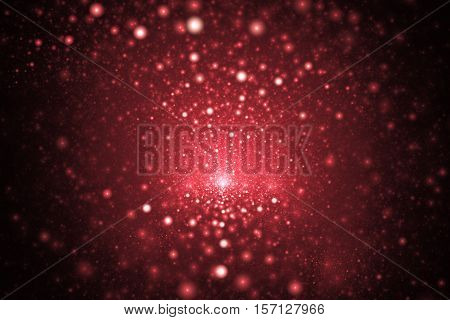 Supernova Explosion. Abstract Colorful Pink And Red Sparks On Dark Background. Fantasy Fractal Textu