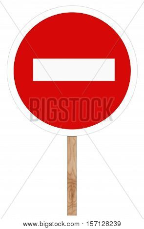 Prohibitory traffic sign isolated on white - No entry
