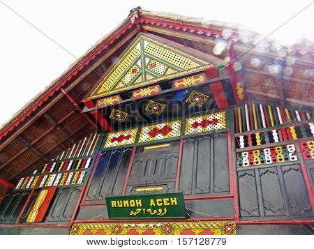 Traditional Acehnese house called Rumoh Aceh. This traditional house type houses on stilts with three main sections and one additional section