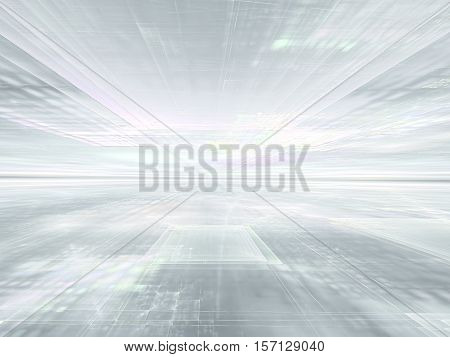 Abstract white background computer-generated image. Fractal geometry: pale textured surface stretches to horizon. Pale backdrop for business and technology design projects.