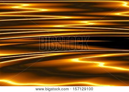 Glossy fractal background - abstract computer-generated image. Digital art: surface with a metallic sheen and deep horizontal folds. For tech and business design projects.