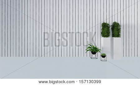 Old Wall Decor With Green Plant In Vase-3D Render