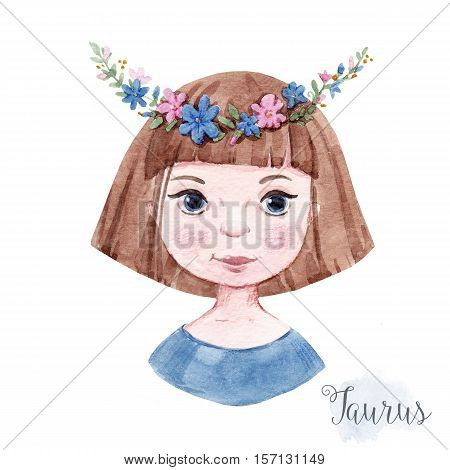 Beautiful watercolor hand drawn girl as a symbol of horoscope sign taurus