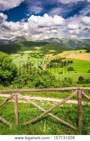 Beautiful Mountain View Of The Valley In Umbria, Italy