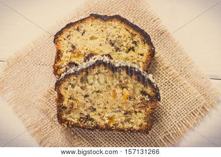 Vintage Photo, Fresh Baked Fruitcake On White Boards