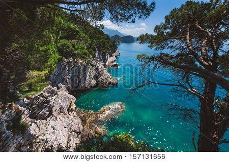 Shoreline and Adriatic sea landscape on the coast path to Petrovac, Montenegro. Rocks and sea view on the way from Perazica Do to Petrovac near Rezevici village.