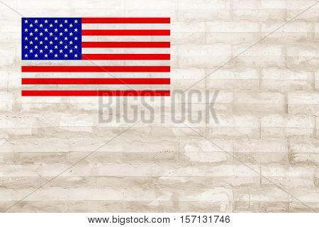 American flag on art concrete texture for background in black grey and white colors.star torn sand old fake art wind dry icon blue red space bad cover drit dust cement drip usa pride stem edge wall