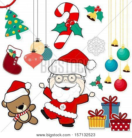 vector images of christmas theme decoration design elements isolated on white background