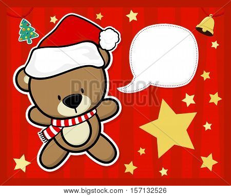 vector image for christmas card with baby teddy bear with santa's hat text ballon for your message and other xmas theme elements