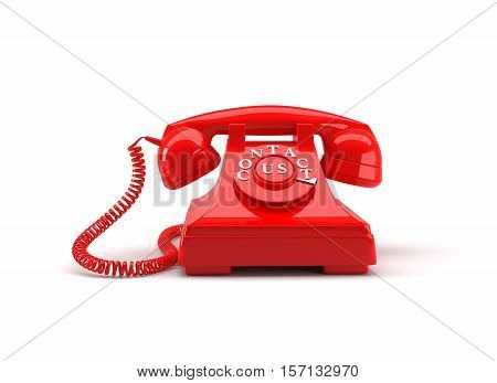 Old style phone with contact us words and clipping path. 3D rendering.