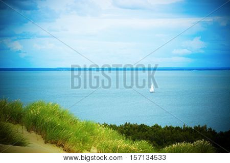 View of Dead Dunes Curonian Spit and Curonian Lagoon Nagliai Nida Klaipeda Lithuania. Baltic Dunes.Unesco heritage.