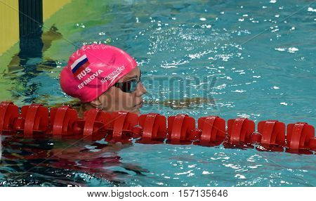 Hong Kong China - Oct 29 2016. Russian olympian and world champion breaststroke swimmer Yulia Yefimova at the finish. FINA Swimming World Cup Preliminary Heats Victoria Park Swimming Pool.