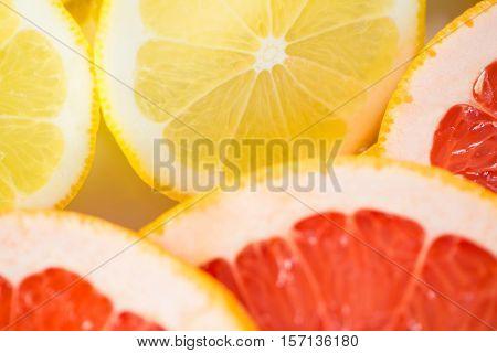 Close-up of sliced lemons and blood orange