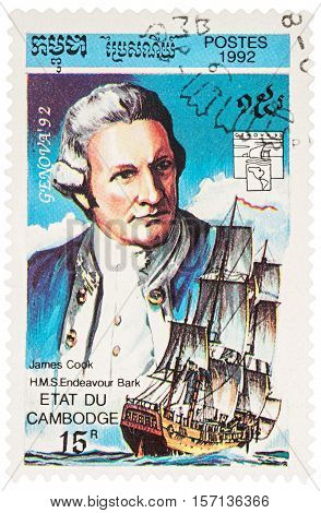 MOSCOW RUSSIA - NOVEMBER 12 2016: A stamp printed in Cambodia shows Captain James Cook and H.M.S.