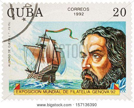 MOSCOW RUSSIA - NOVEMBER 16 2016: A stamp printed in Cuba shows Alonso de Ojeda (1468-1515) a Spanish navigator governor and conquistador series