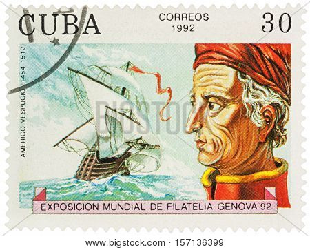 MOSCOW RUSSIA - NOVEMBER 16 2016: A stamp printed in Cuba shows Amerigo Vespucci (1454-1512) an Italian explorer financier navigator and cartographer series