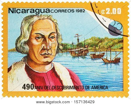 MOSCOW RUSSIA - NOVEMBER 15 2016: A stamp printed in Nicaragua shows portrait of Christopher Columbus series