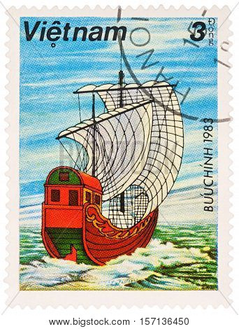MOSCOW RUSSIA - NOVEMBER 14 2016: A stamp printed in Vietnam shows ancient Asian sailing ship series