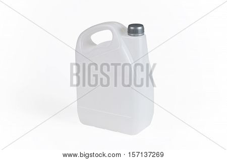 White plastic jerrycan with silver cap on white background.