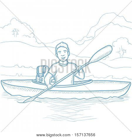 Young traveling man riding in kayak on the river with skull in hands and some tourist equipment behind him. Caucasian man traveling by kayak. Hand drawn vector sketch illustration on white background.