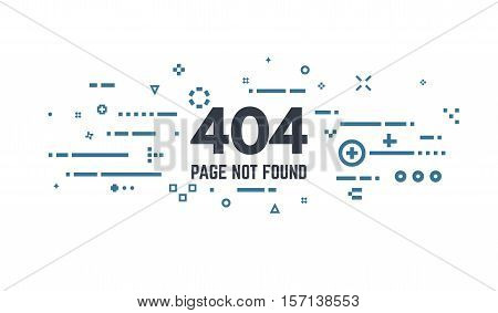 404 error page flat line concept. Link to a non-existent page. Abstract lines dots and objects.