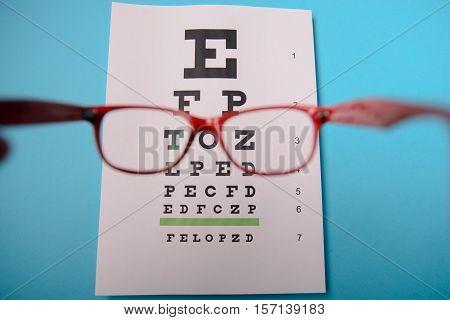 Glasses Lying On Snellen Test Chart