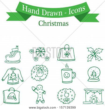 Vector art of Christmas icon set collection stock
