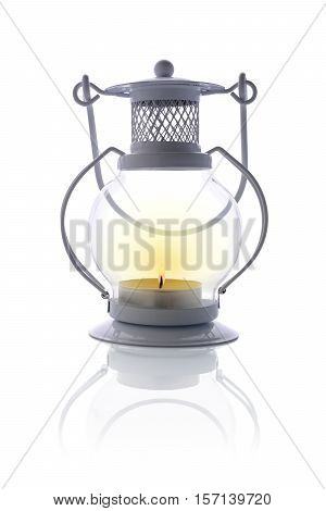 White Vintage Candle Lantern